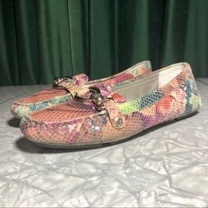 Anne Klein Floral Multicolor Suede Loafers